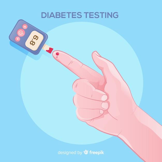Diabetes testing blood background Free Vector