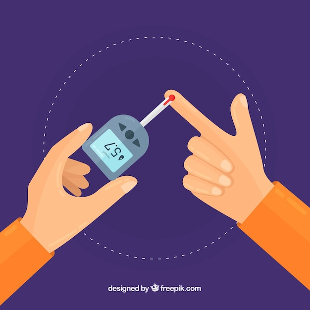 Diabetes testing blood composition with flat design Free Vector
