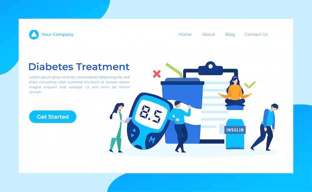 Diabetes treatment landing page Premium Vector