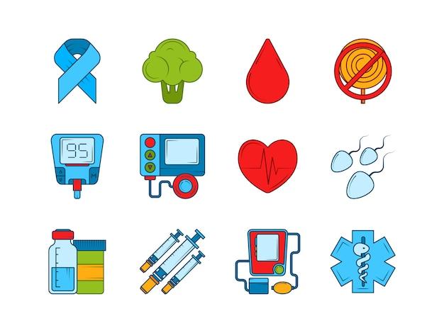 Диабетический медицинский инсулин, шприц и другие медицинские иконки Premium векторы