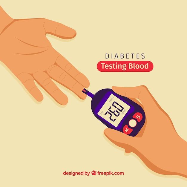Диабетики, тестирующие кровь с плоской конструкцией Бесплатные векторы