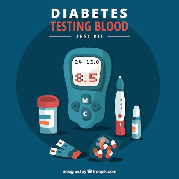 Diabetics testing blood with flat design Free Vector