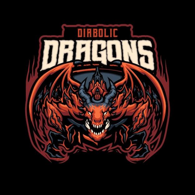 Eスポーツおよびスポーツチームの悪魔のようなドラゴンマスコットのロゴ Premiumベクター