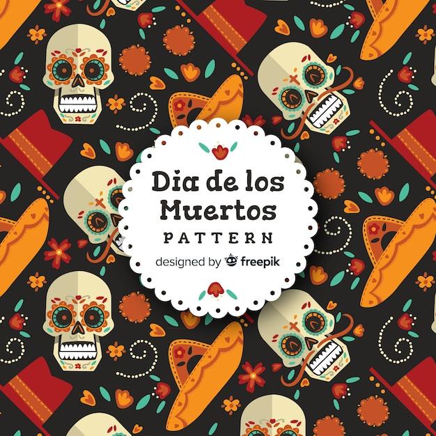フラットデザインのカラフルなdíade muertosパターンコレクション 無料ベクター