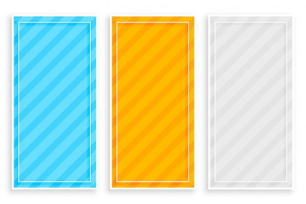 Diagonal bold stripes banners set of three Free Vector