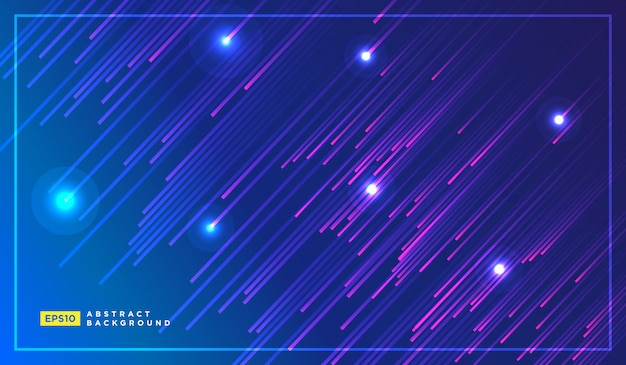 Diagonal stripes lines falling with glowing light Premium Vector