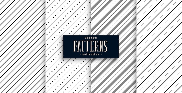 Diagonal stripes lines pattern set of four Free Vector