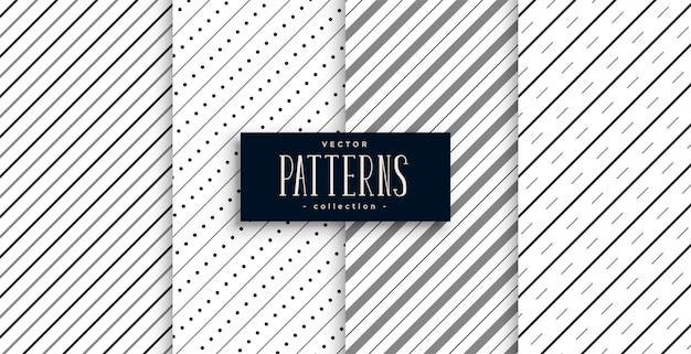 Set di quattro linee di strisce diagonali Vettore gratuito