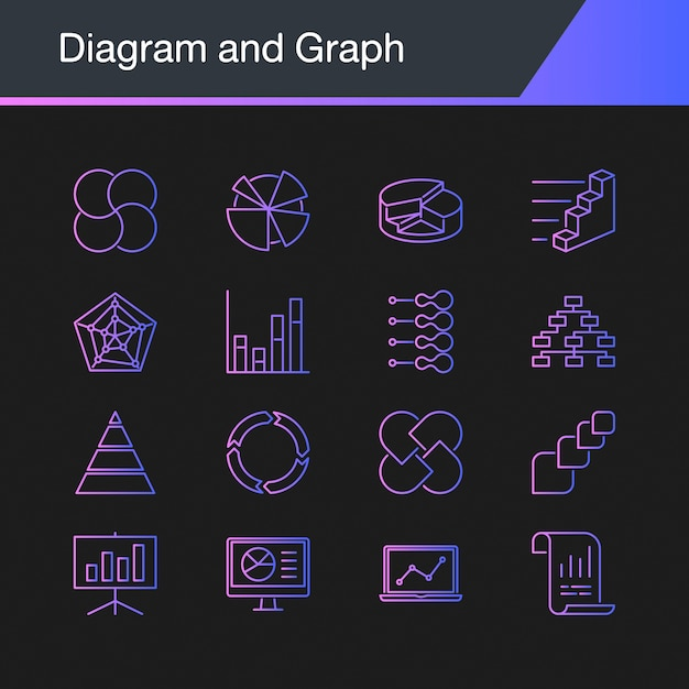 Diagram and graph icons. Premium Vector