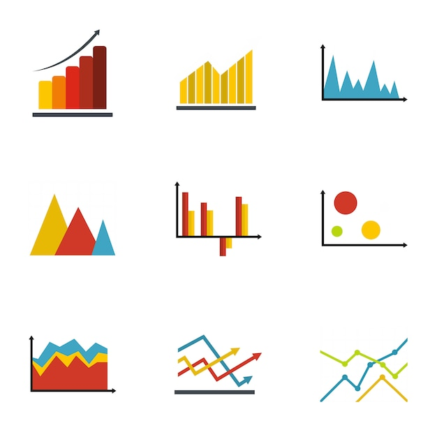 Diagram Icon Set  Flat Style