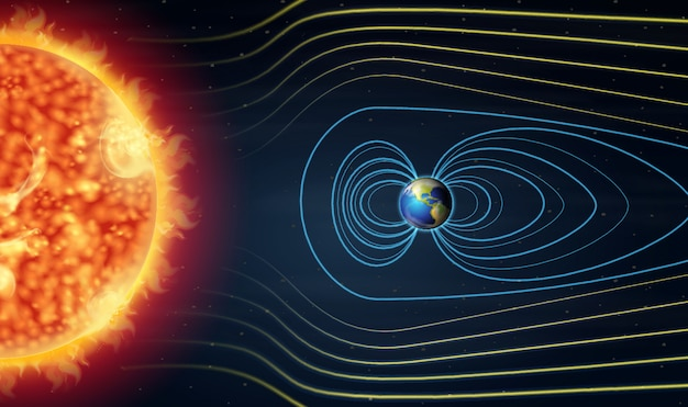Diagram showing earth and sun in the space Premium Vector