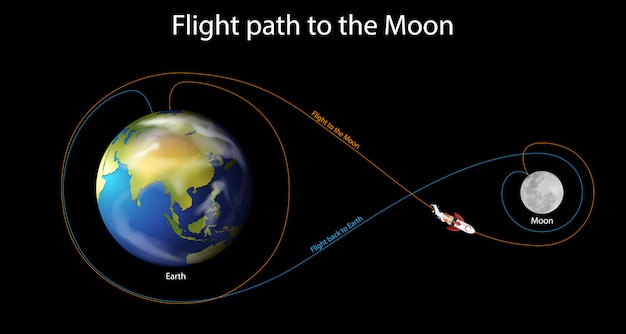 Diagram Showing Flight Path To The Moon Vector