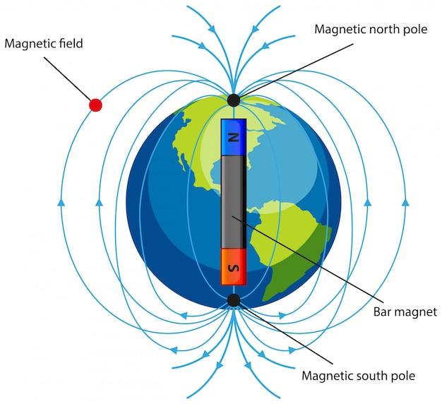 Diagramma che mostra il campo magnetico su bianco Vettore gratuito