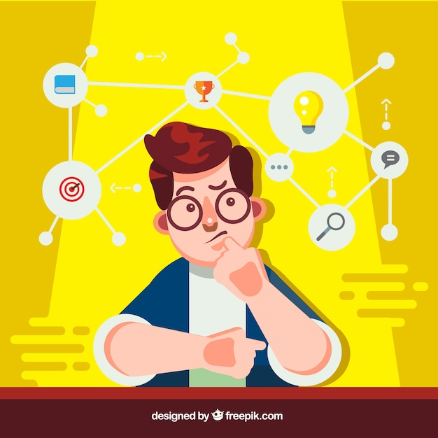 Diagram template and guy thinking Free Vector