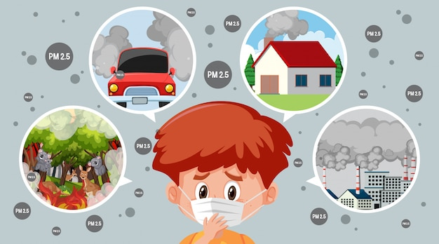 Diagram of what causes of pm 2.5 and boy wearing mask Premium Vector