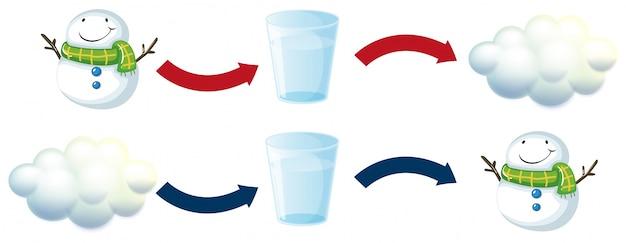 Диаграмма со снеговиком и стаканом воды Бесплатные векторы