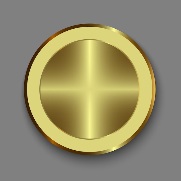 Dial knob. realistic gold button Premium Vector