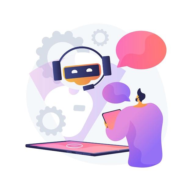チャットボットとの対話。人工知能が質問に答えます。テクニカルサポート、インスタントメッセージング、ホットラインオペレーター。 aiアシスタント。クライアントボットコンサルタント。ベクトル分離された概念の比喩の図。 無料ベクター
