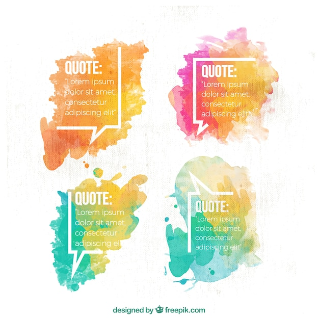 Dialogue balloons with watercolor stains Free Vector