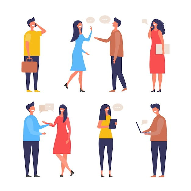 Dialogue people. communication characters web chat discuss businessman active discussion flat pictures Premium Vector