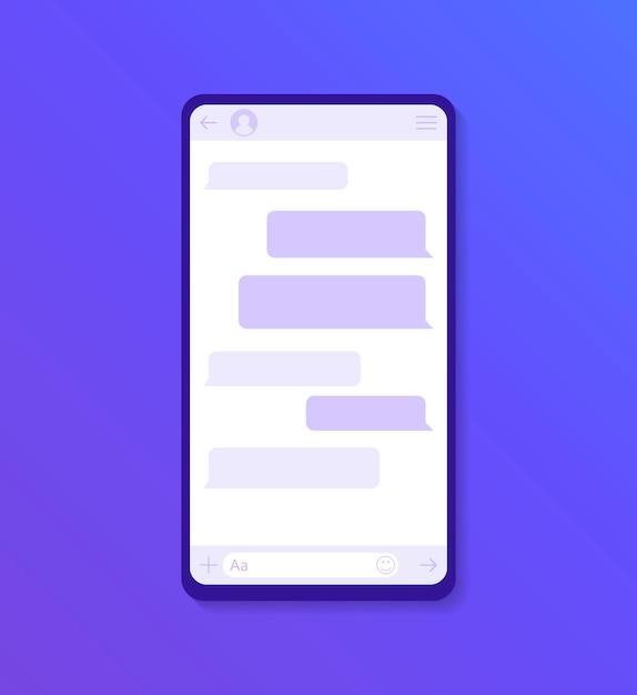 Dialogueウィンドウを備えたチャットインターフェイスアプリケーション。クリーンなモバイルui。 smsメッセンジャー。モダンなフラットスタイルの図 Premiumベクター