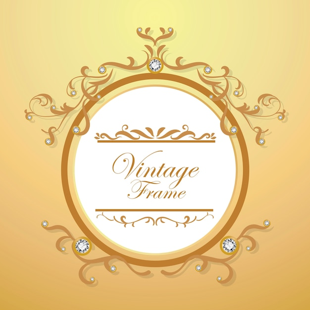 Diamond and gold background vintage frame vector Vector | Premium ...