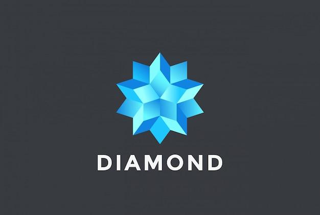 Бриллиантовая синяя звезда логотип. Бесплатные векторы