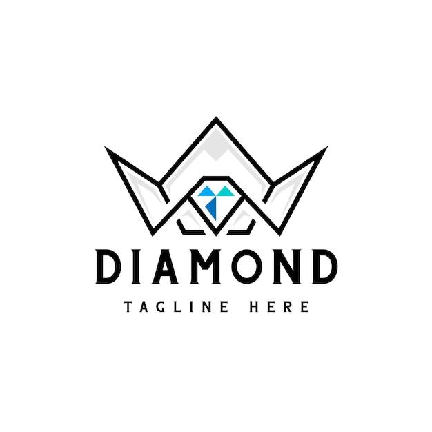 Diamond crown logo Premium Vector
