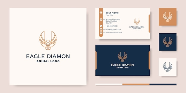 Diamond eagle logo icon vector design template, and business card Premium Vector