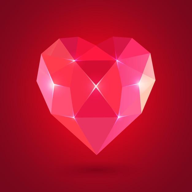 다이아몬드 심장 모양, 발렌타인 데이에 대 한 형식입니다. 프리미엄 벡터