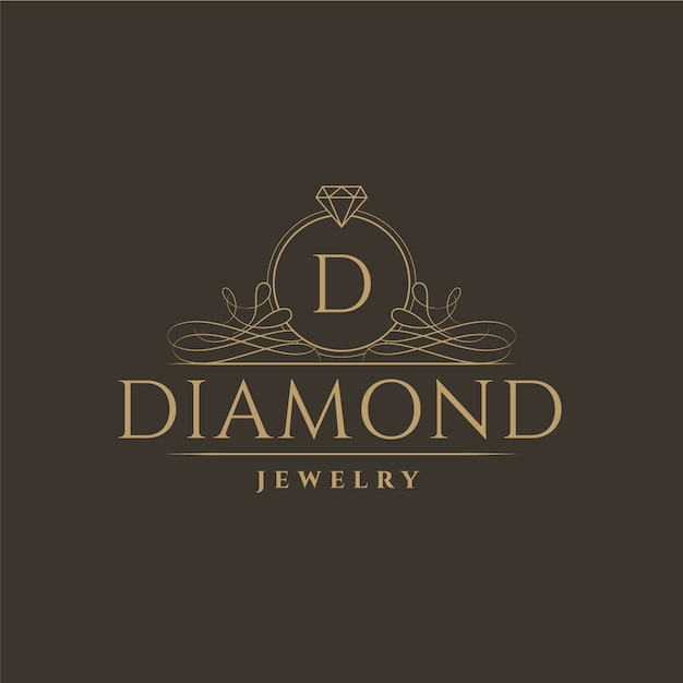 Diamond jewelry logo design Premium Vector
