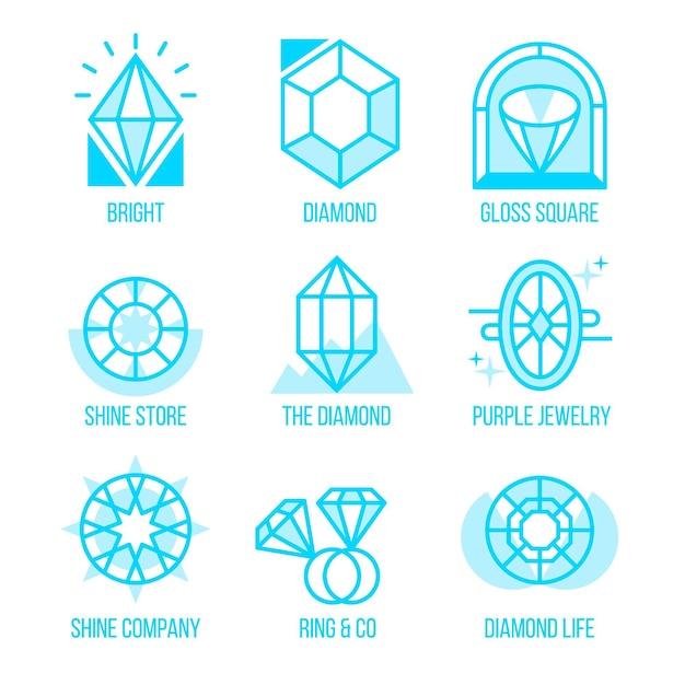 Collezione logo diamante Vettore gratuito