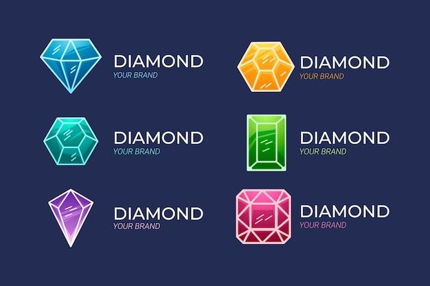 Алмазная коллекция логотипов Premium векторы