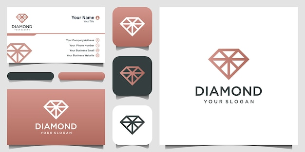 Diamond logo. excellent jewelry logo. icon and business card Premium Vector