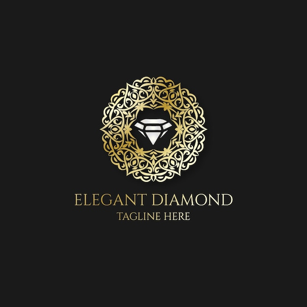 Алмазный логотип с элегантными золотыми элементами Бесплатные векторы