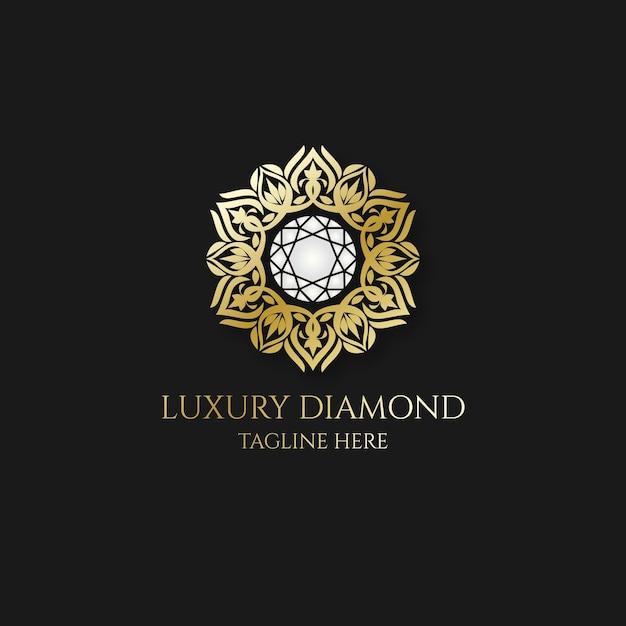 エレガントな金の装飾が施されたダイヤモンドのロゴ 無料ベクター