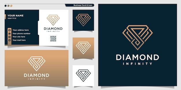 Diamond logo with golden infinity line art style and business card Premium Vector