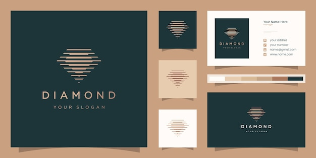 Diamond logo with twin silhouette style and business card design template Premium Vector