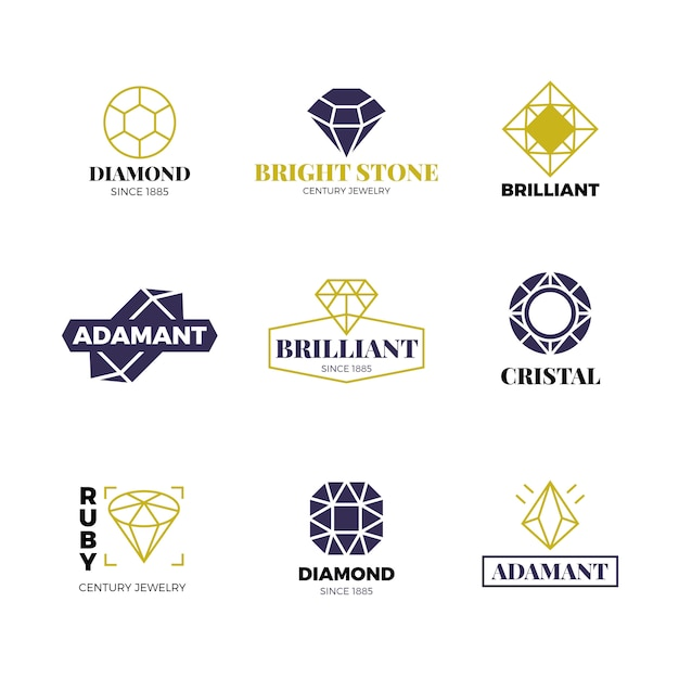 Diamond logos set. luxury labels with sparkle brilliant. diamond, brilliant gemstone logo collection Premium Vector