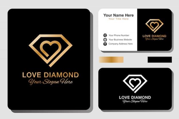 Diamond love logo and business card Premium Vector