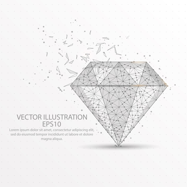 Diamond low poly wire frame on white background. Premium Vector