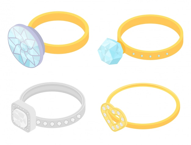 Diamond ring icons set, isometric style Premium Vector