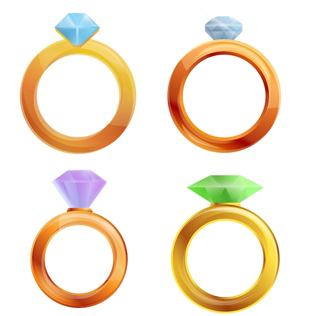 Diamond ring set, cartoon style Premium Vector