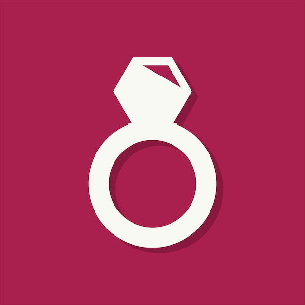 Diamond ring valentines day icon Free Vector