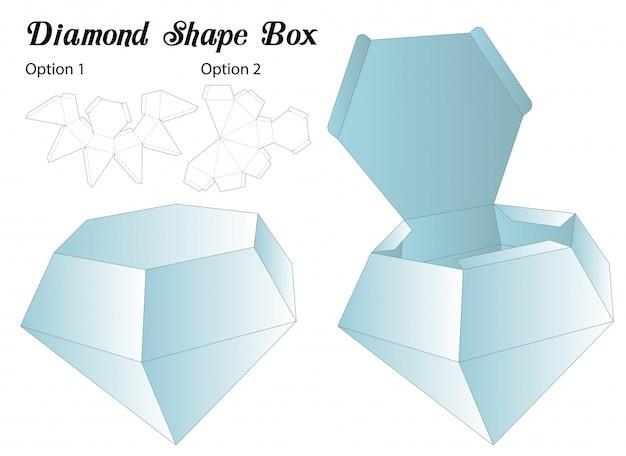 Diamond shape box packaging die cut template Premium Vector