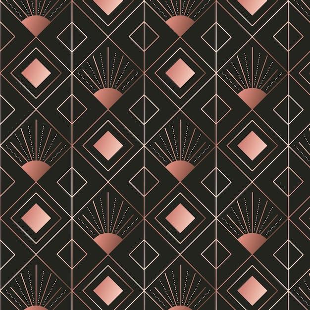 ダイヤモンドシェイプローズゴールドアールデコパターン Premiumベクター