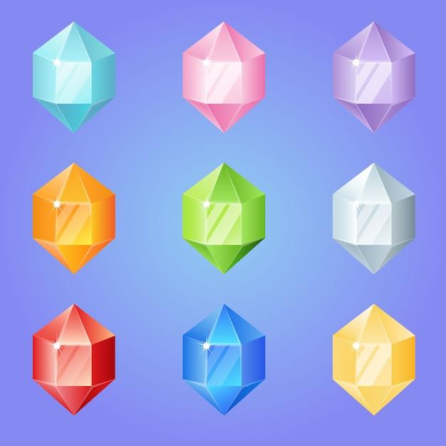 Diamonds hexagon shape gem set 9 colors for 3 match games. Premium Vector
