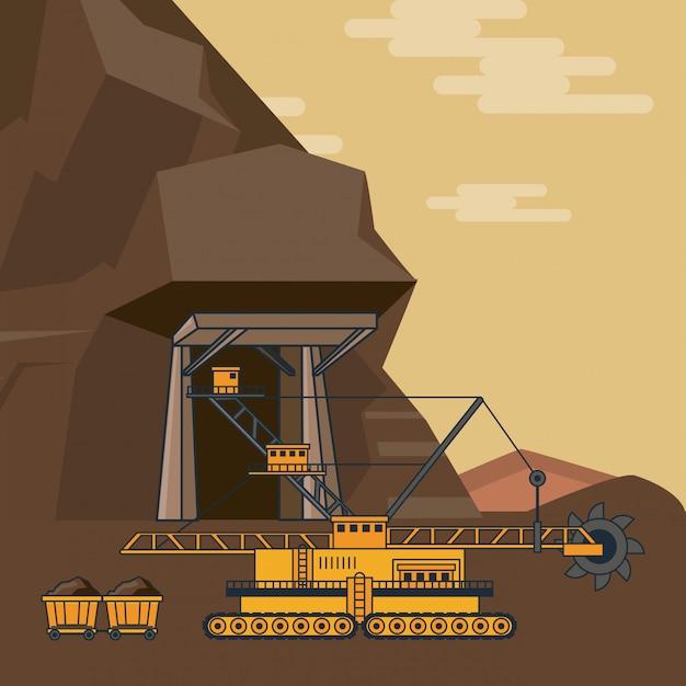 Diamonds mining cartoons Premium Vector