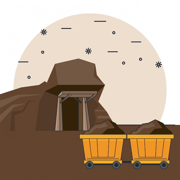 Diamonds mining cartoons Premium Vector