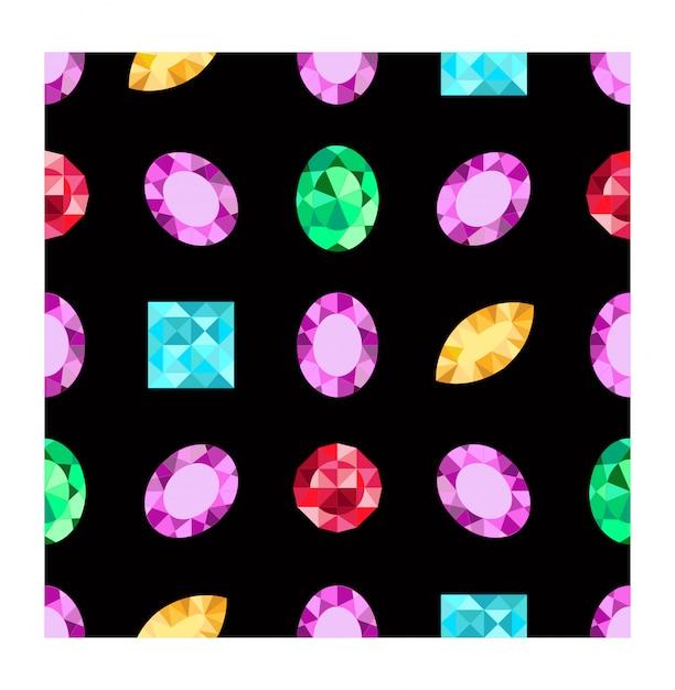 Бриллианты или бриллианты бесшовные модели. драгоценные камни на темном фоне. драгоценный камень. узор можно использовать как оберточную бумагу, фон, принт из ткани, фон веб-страницы, обои Premium векторы